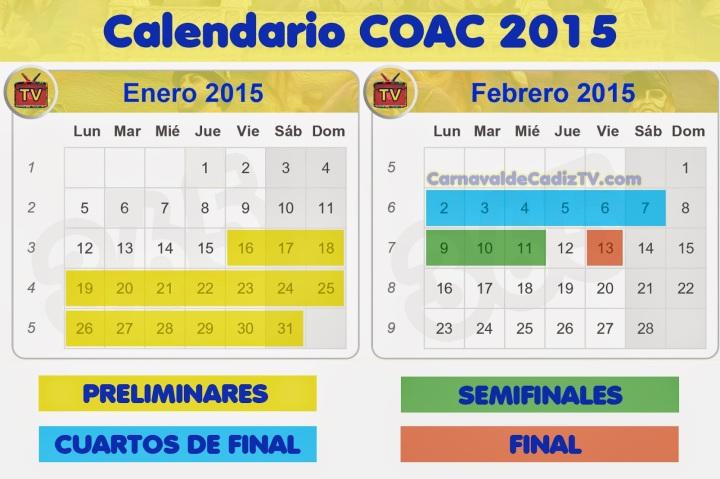 """Y finalizamos la agenda con CÁDIZ, en la que una vez acabados los preliminares del concurso el día 31 de enero, continúan con los cuartos de final del COAC 2015, que se celebra en el Gran Teatro Falla a las 21:00 desde el lunes 2 de febrero hasta el sábado 7 de febrero. Destacando la actuación de la chirigota """"Los clásicos del teatro"""", del Canijo de Carmona que tendrá lugar el sábado, el domingo la chirigota de los """"Paco-Piedra"""" de Kike Terremoto."""